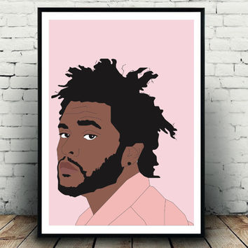 Weeknd poster, The Weeked print, The Weeknd wall decor, Fashion hip hop poster, The Weeknd gift idea, Pink The Weeknd fashion print decor