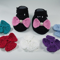 "Crochet Baby shoes, Baby shoes, Custom baby shoes, fashion baby shoes, baby accessories with a 6 set changing bow -Black- Up to 12 cm (4.7"")"