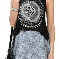 ROWME Retro Sun and Letters Print Black Vest