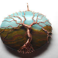 Wire Wrapped Tree of Life Pendant Copper Wire and Green Chalcedony Landscape Tree Necklace