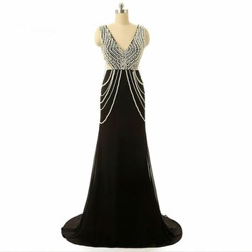 V neck Beaded Pearls Chiffon Black Dresses Long Formal gowns