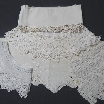 6 Pieces of Vintage 1950s Crochet Lace & Hand Embroidered Trim Pieces for Upcycle Supply, Pillowcase, Pillow, Doily Trim, Vintage Linens