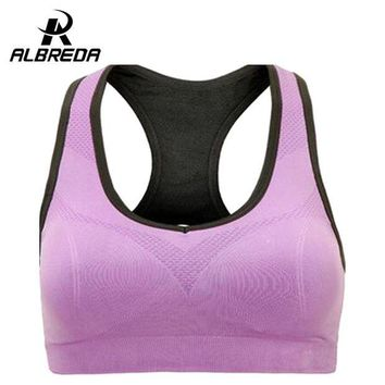 DK7G2 ALBREDA Professional Binand Running Yoga Sports Bra Up Shockproof Wirefree Crop Top Professional Gym Fitness Racerback Vest
