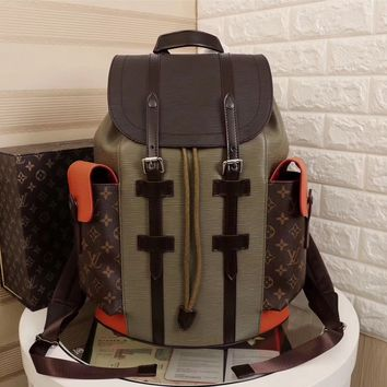 cc kuyou LV Backpack Army Orange
