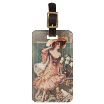Victorian Pin Up Girl Dress Fashion Costume Paris Travel Bag Tags