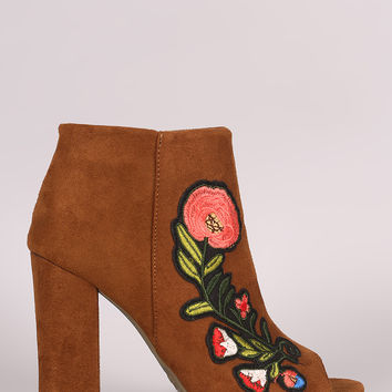 Bamboo Suede Floral Patch Chunky Heeled Ankle Boots