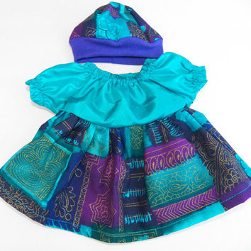 "American Girl Bitty Baby Clothes 15"" Doll Clothes 2pc Turquoise Blue Purple Satin Fall or Christmas Holiday Peasant Dress and Hat"