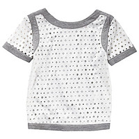 GB Girls 7-16 Faux-Leather Laser-Cut Tee - White
