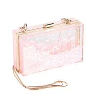 Pink Fashion New Box Sequins Acrylic Clutch Chain Clutches Women Shoulder Bags Hard Evening Bags Wedding Party Prom Purse