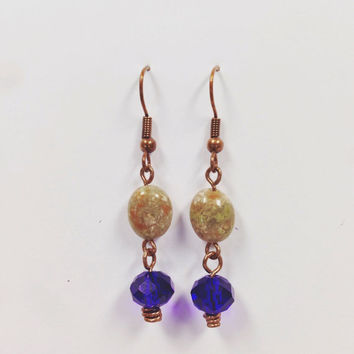 Earrings - Boho Earrings - Copper Wire Wrap - Austrian Crystal - Quartz Stone - Copper Earrings - Cobalt Blue Earrings - Bohemian Jewelry
