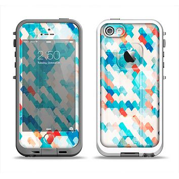 The Modern Abstract Blue Tiled Apple iPhone 5-5s LifeProof Fre Case Skin Set