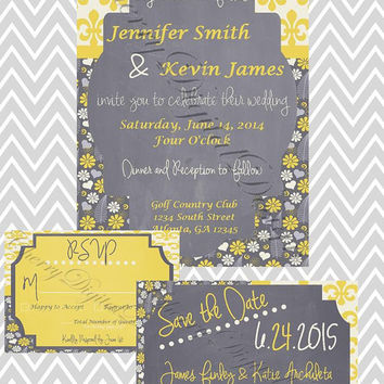 Wedding Invite Set, Custom Printable Invite - Yellow, Gray - Save the Date, RSVP Card - Floral, Modern - PDF, Instant Download, Custom