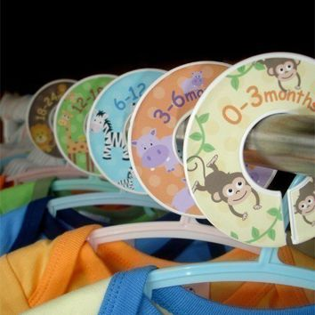 Baby Closet Organizer Clothing Dividers Safari by potatopatch