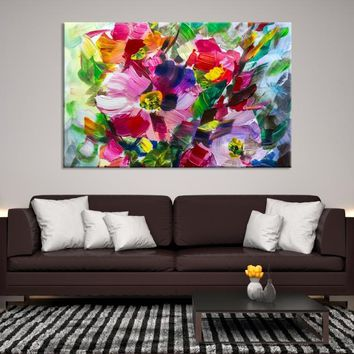75768 - Oil Painting Bright Flowers Canvas Print   Impressionism Wall Art   Colorful Floral Wall Decor   Floral Artwork   Abstract Flower Painting