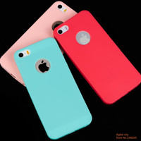 Recommend Candy colorful Soft texture TPU Silicon phone cases for iphone 5 5S Logo Window Ultra thin back cover Free shipping