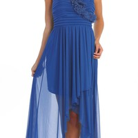 Bridesmaid Royal Blue Dress High Low Chiffon Strapless Flowers Bodice