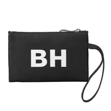 Monogrammed white big bold block letters on black coin wallet