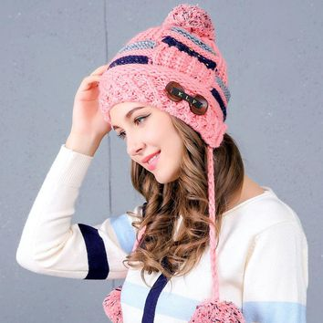 Women button knit hat  girls Winter Protect your ears Hats For women Cotton long ball Thick Warm Knitted Ears Beanie Fox  Cap