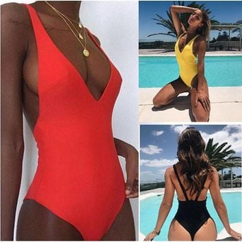 DCCKR2 Fashion Bikini new pure color one-piece swimsuit ladies sexy Bikini Black ONE PIECE BIKINIS RED