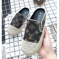 LV GUCCI New Summer Fashion Women Comfortable Print Casual Slippers Sandals Flats Shoe Coffee I12205-1