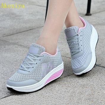 Akexiya Casual Women's Shoes Platform Flats Lady Beauty Sewing Fitness Shoe New Trendy Health Wedges Sneakers Size 35-40