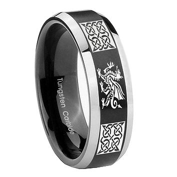 10MM Beveled Multiple Dragon Celtic Satin Black Two Tone Tungsten Carbide Men's Ring