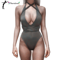 2016 Women Bodysuit Rompers one piece summer style tip up Jumpsuit Sexy high waist backless sexy swimsuit Bodycon Jumpsuits