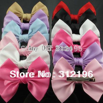 "MyAmy Free Shipping 40pcs/lot 4.5"" korean satin ribbon hair bows WITH alligator hair clips for baby girls children kids teens"