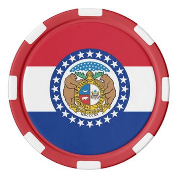 Patriotic poker chips with Flag Of Missouri
