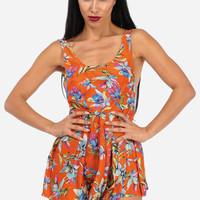 Fashion Rompers-Cute Summer Romper-Floral print orange romper