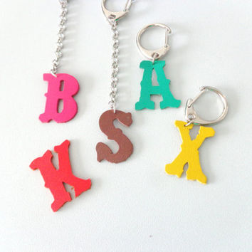Initial personalized leather keychain