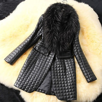 Women Winter Faux Leather Fur Coat Long Sleeve Jacket Outerwear AP = 1930166852