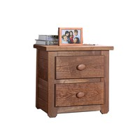 Wooden 2 Drawers Night Stand In Mahogany Finish, Brown