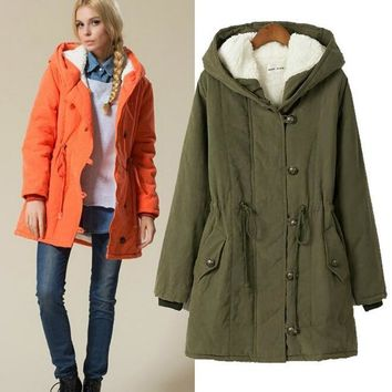 Fleece Lined Warm Hooded Cotton Cloth Parka With Waist Cincher