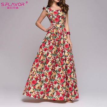 S.FLAVOR Women printing party dress 2018 Popular sleeveless square collar sexy long vestidos Women Elegant autumn pleated dress