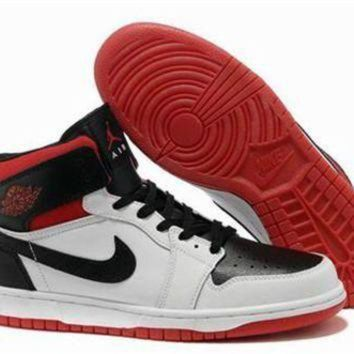 Cheap Air Jordan 1 Retro Red White Black Shoes Online