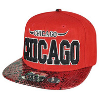 Windy City Chicago State Red Snake Skin Flat Bill Snapback Hat Cap Chi Town Bull