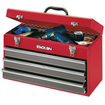 """Stack-On 20"""" 3 Drawer All Steel Portable Tool Chest - Red"""