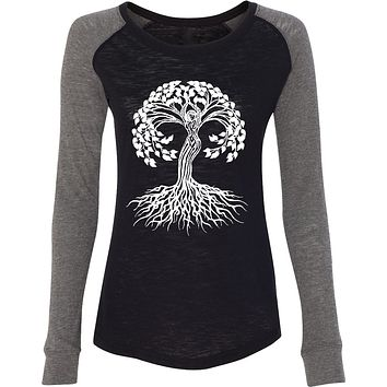 White Celtic Tree Preppy Patch Elbow Yoga Tee Shirt