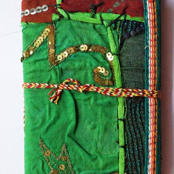 Decorative Art / Food / Travel Journal Handmade Paper / Diary / Notebook / Decorated / notebook With recycled embroidered Sari