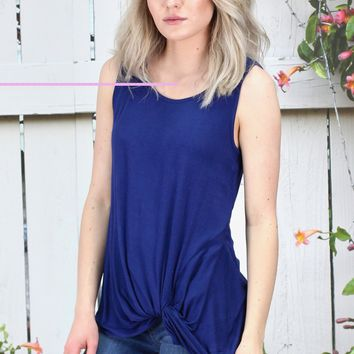 Twisted Up Basic Tank Top {Navy}