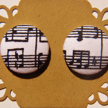 Music Notes - Fabric Button Post Earrings - Button Earrings - Hypoallergenic Post