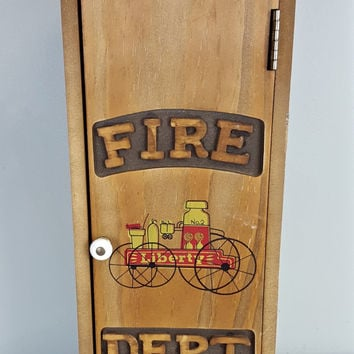 Wooden Fire Extinguisher Cabinet, Fire Dept. Extinguisher Cabinet, Wood Hanging Cabinet, Wood Storage Box, Country Style Decor, Rustic Decor