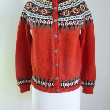 Vintage Red 60's Sweater Hand Knit Cardigan Wool Red Norway Ski Medium