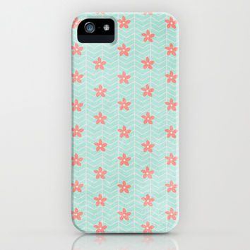 $6 off SALE Plumeria & Chevrons (Mint & Coral) iPhone 4, 4s, 5, 5s, 5c + Samsung Galasy s3, s4 & iPod Case by alterEGO