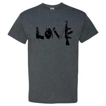 Love Guns on a Dark Heather Short Sleeve T Shirt