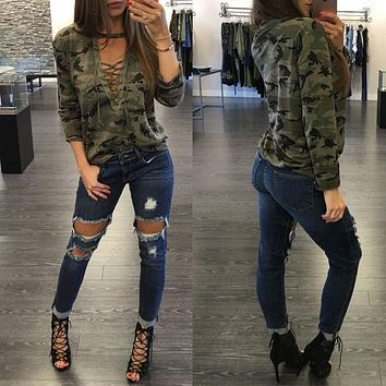 Sexy Women T-Shirts Long Sleeve Camouflage Casual Shirt Cotton Loose Tops T Shirt