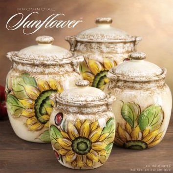 CERAMIC PROVENCE SUNFLOWER CANISTER SET OF 4
