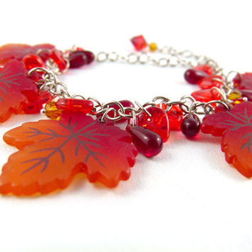 Autumn Maple Leaves Charm Bracelet by angelyques on Etsy