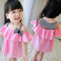 2015 Summer New Girls Striped Suspenders T-shirt Dress Baby Strapless Stitching Dress Children's Dresses Kids Clothing.